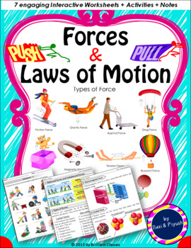 Forces and Laws of Motion : Unit with Worksheets, Activities and Notes