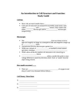 An Introduction to Cell Structure and Function:  Study Guide