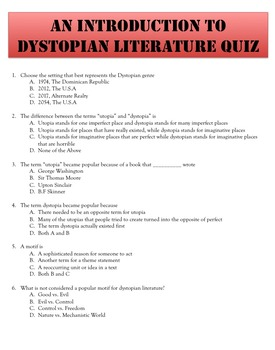 An Introduction to Dystopian Literature Lesson: PPT, Activities, & Quiz Included