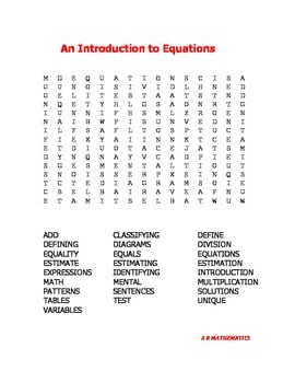 An Introduction to Equations Word Search