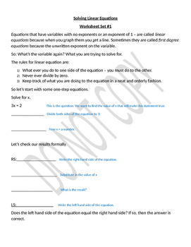 An Introduction to Solving Linear Equations - Structured & Guided worksheets