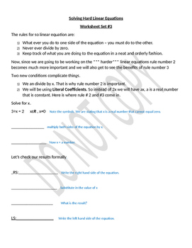 Solving Harder Linear Equations - Structured & Guided worksheets