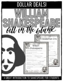 Introduction to William Shakespeare Activity