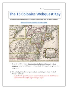 An Introduction to the 13 Colonies- Webquest and Video Analysis with Key