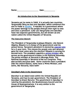 An Introduction to the Government in Tanzania