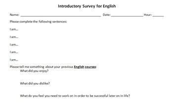 An Introductory Survey for an English Course