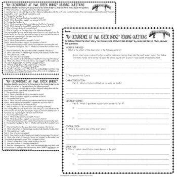 An Occurrence at Owl Creek Bridge Short Story: Common Core ELA Test Prep Quiz