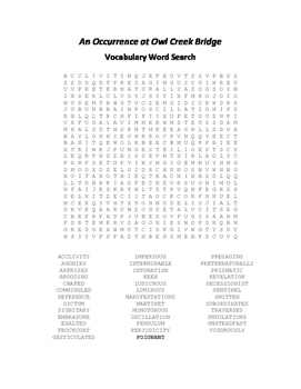 An Occurrence at Owl Creek Bridge Vocabulary Word Search - Bierce
