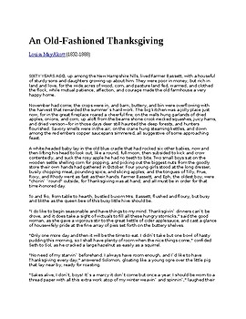 An Old Fashion Thanksgiving by Alcott