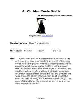 An Old Man Meets Death  - Small Group Reader's Theater by Aesop