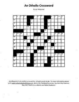 An Othello Crossword, William Shakespeare, Fun Review with