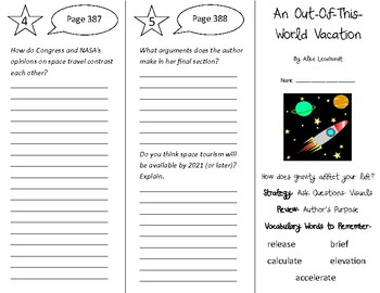 An Out-Of-This-World Vacation Trifold - 5th Grade Literacy by Design Theme 11
