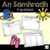 An Samhradh - 8 Summer Writing Worksheets as Gaeilge