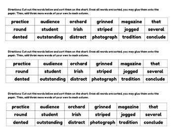 An Upper Elementary Word Sort - Parts of Speech