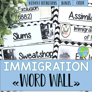 Immigration and Urbanization Word Wall without definitions
