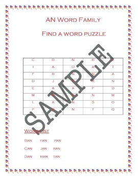 An Word Family Activity Packet