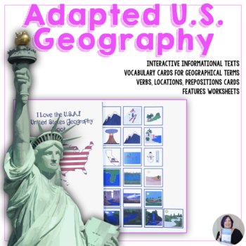 U S Geography Book and Activities Adapted for Special Education Speech Therapy
