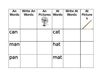An and At Word Family Sort
