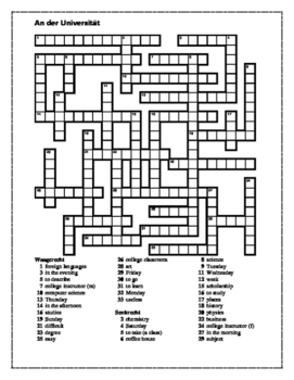 An der Universität (German University) Crossword