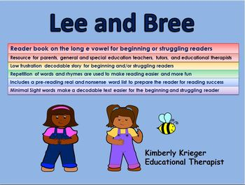 Reader book on the long e vowel for beginning or struggling readers