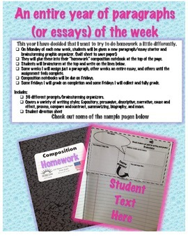 An entire year of paragraphs (or essays) of the week
