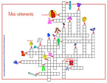 """An illustrated crossword puzzle to complement """"Trouvé (Les vêtements)"""""""
