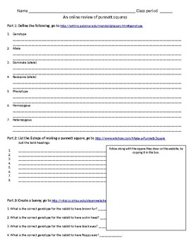 An online review of punnett squares internet resource. Web-quest