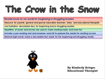 Reader book on ow words for beginning or struggling readers