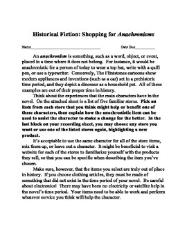 Anachronism assignment using historical fiction novels