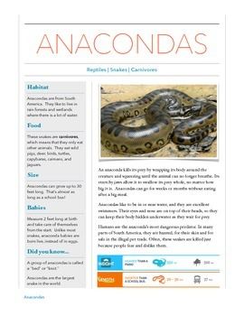 Anaconda - Animal Informational Reading Passage