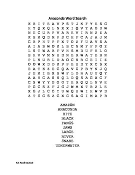 Anaconda - facts info review article questions vocabulary word search