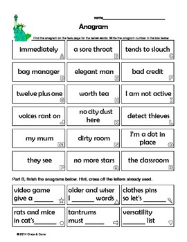 Anagram Phrases, Same Letters Different Words, Center Activity
