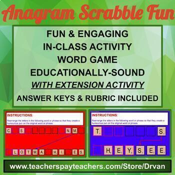 Anagram Scrabble Fun - Class Group Google Slides Fun Activity / Game