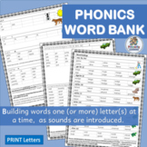 Word Bank for Teaching Sounds: great resource for Jolly Phonics!