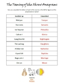 Anagrams x 6 (plus 6 answer sheets) for William Shakespeare plays