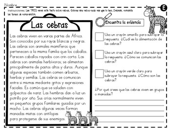 Análisis de texto informativo  de animales del zoológico - Cebras