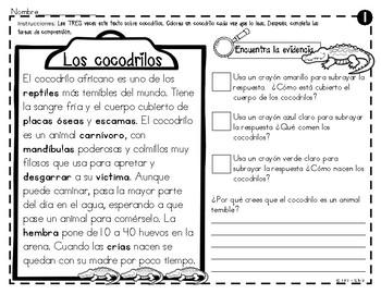 Análisis de texto informativo  de animales del zoológico - Cocodrilos