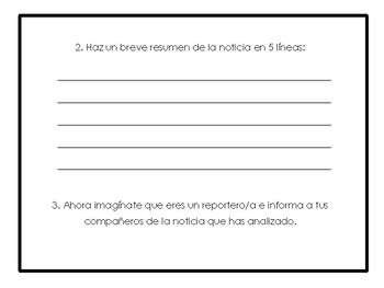 Análisis de una noticia/ News Story Analysis Worksheet in Spanish