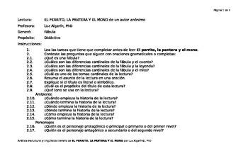 Análisis estructural y lingüístico-literario de La perrita, la pantera y el mono