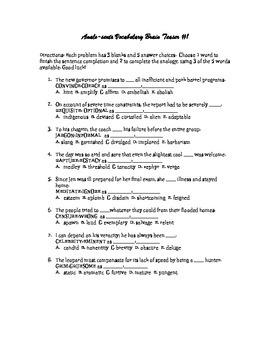 Analo-Sents Vocabulary Brain Teaser #1