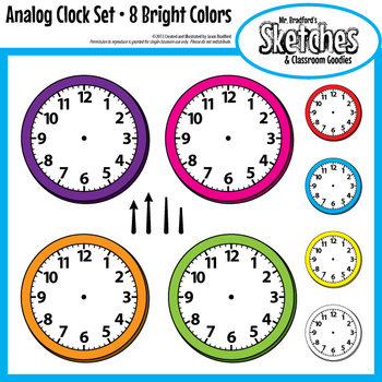 Analog Clock Clip Art Graphics and Templates in Eight Bright Colors
