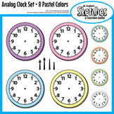 Analog Clock Clip Art Graphics and Templates in Eight Pastel Colors