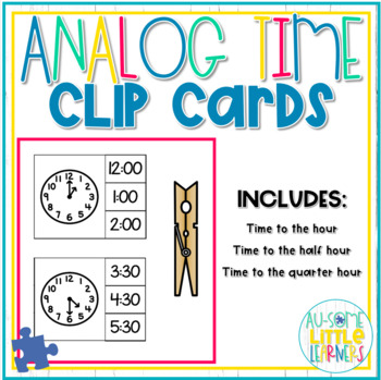 Analog Clock Clip Cards - Special Education