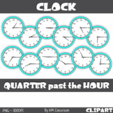Analog Clock ClipArt Telling Time Quarter past the Hour