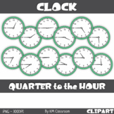 Analog Clock ClipArt Telling Time Quarter to the Hour