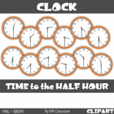 Analog Clock ClipArt Telling Time to the Half Hour