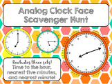 Analog Clock Face Scavenger Hunt (Hour, Five Minute, Minute)