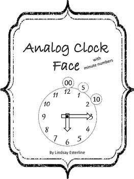 Analog Clock Face with minute numbers