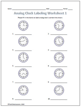 Analog Clock Labeling Worksheets - Telling Time