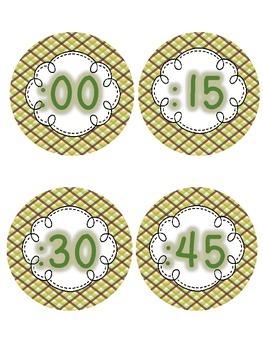 Analog Clock Numbers(Grn,Brwn,Ylw theme) **FREEBIE**  Back To School